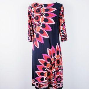 SANDRA DARREN  Navy and Pink Floral Dress Size 8